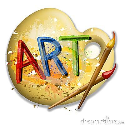 Pinceaux et logo d 39 art de palette photos libres de droits image 5026508 - Nettoyer des pinceaux de peinture ...