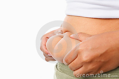 Pinching fat on tummy