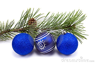 Pine branch and christmas baubles
