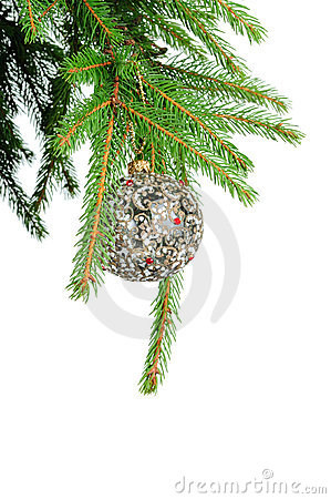 Pine branches and christmas ball isolated on white
