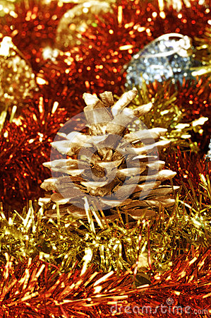 Pine cone and tinsel