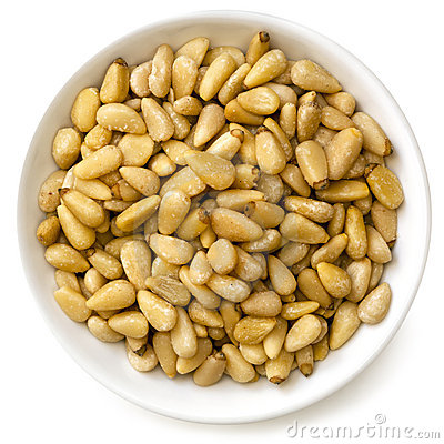 Pine Nuts in White Bowl