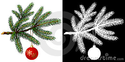 Pine tree branch with Christmas ball
