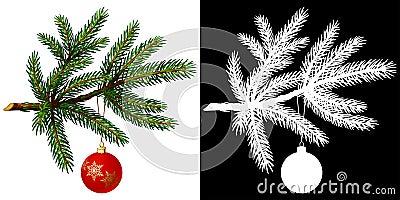 Pine tree branch with Christmas ball