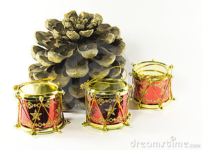 Pine tree cone with toy drum Christmas decorations