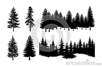 Pine tree silhouette set Vector Illustration