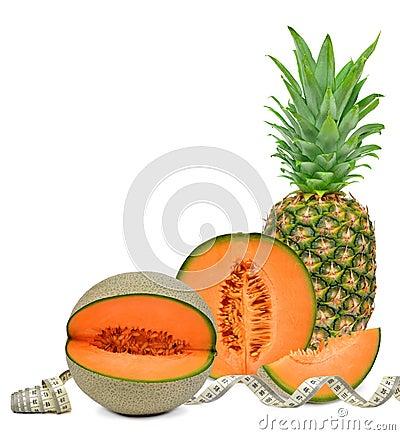 Pineapple and cantaloupe melon