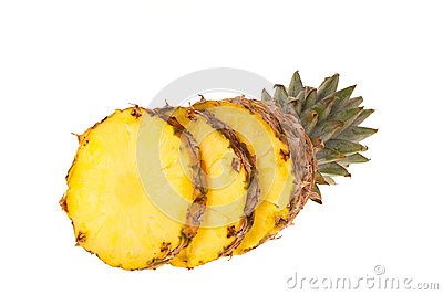 Pineapple fruit cut into slices