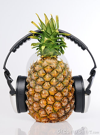 Pineapple in headphones