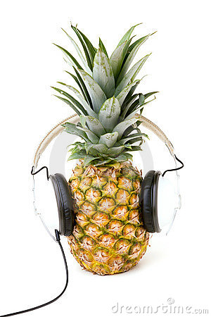 Free Pineapple Listening To Music With Stock Image - 18389681