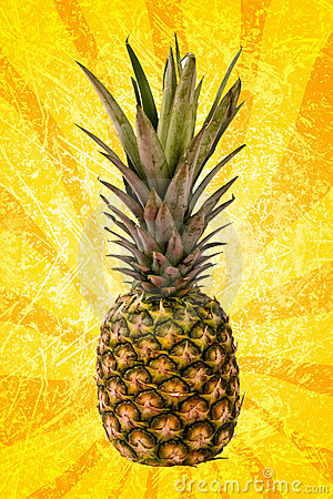 Pineapple on yellow spiral