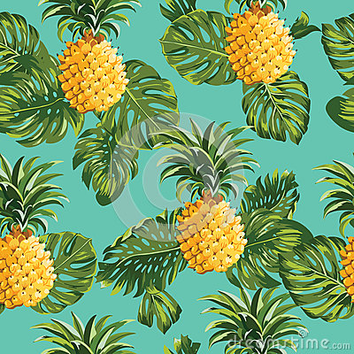 Free Pineapples And Tropical Leaves Background Stock Photos - 51756053
