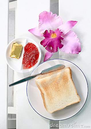 Free Ping Breakfast Bread, Butter, Jam Stock Photography - 20949632
