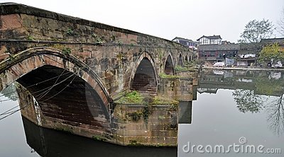 Ping Le, China: Ancient Buildings and River Bridge