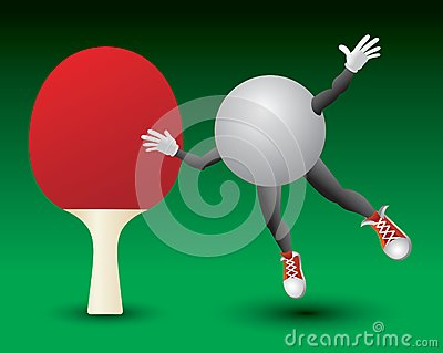 Ping pong ball character and paddle