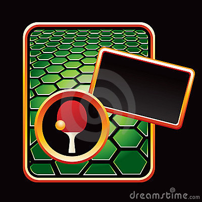 Ping pong ball and paddle on green hexagon ad