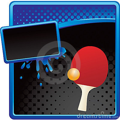 Ping pong ball and paddle on halftone ad