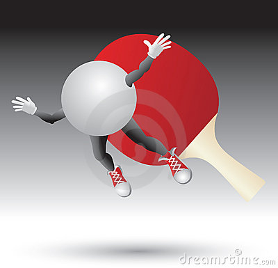 Ping pong paddle hitting cartoon ball