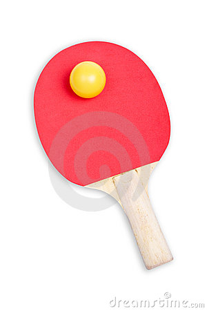 Ping pong paddle and yellow ball