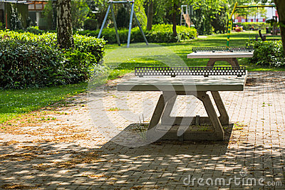 Ping pong tables in a public park playground