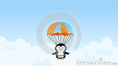 Pingouin de parachute, animation de bande dessinée banque de vidéos