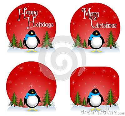 Pinguin-Weihnachtshintergründe