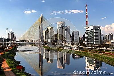 Pinheiros River and Bridge Sao Paulo Brazil