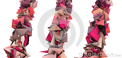 Pink 3d abstract growing spiked shape on white