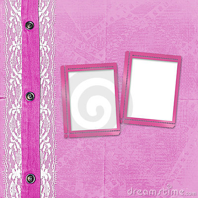 Pink album for photos with jeans