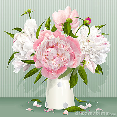 Free Pink And White Peony Bouquet Stock Images - 31264054