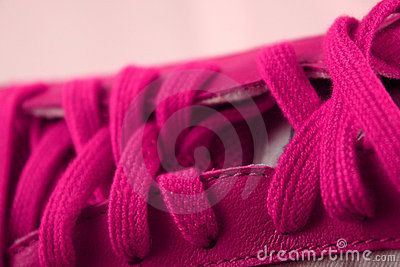 Pink athletic shoe laces