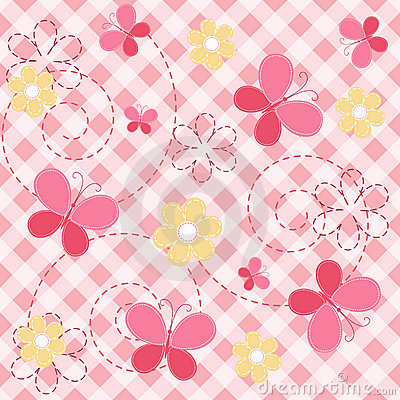 Free Pink Baby Seamless With Butterfly. Royalty Free Stock Photos - 18243578