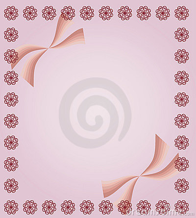 Pink background with curls and ribbons