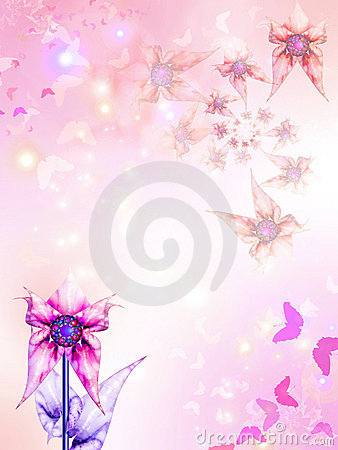Pink background with flowers and butterflies