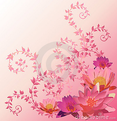 Pink background with lily and lotus flowers