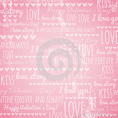 Pink background with  valentine hearts and wishes