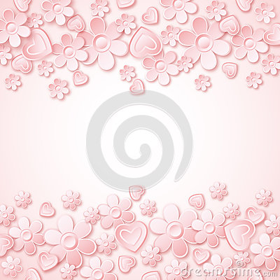Free Pink Background With  Valentine Hearts And Flowers Royalty Free Stock Image - 35973076