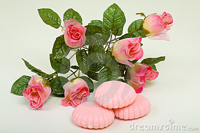 Pink Bar Soap With Artificial Flower