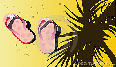 Pink beach sandals on sand