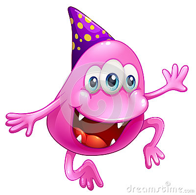 A pink beanie monster celebrating