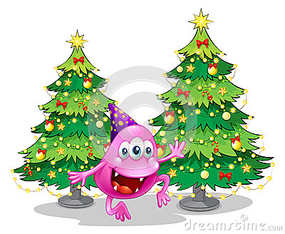 A pink beanie monster near the green christmas trees