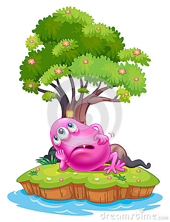 A pink beanie monster resting under the tree house in the island