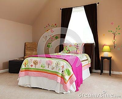 Pink bed in kids baby girl bedroom interior.
