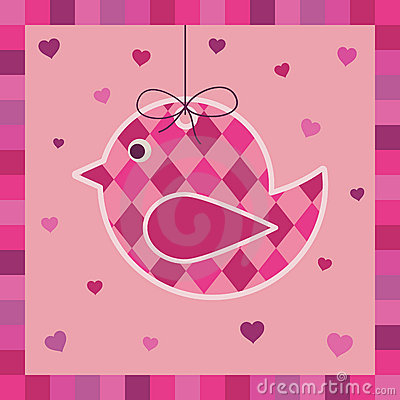 Pink bird greeting card