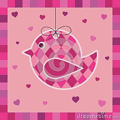 Pink bird greeting card