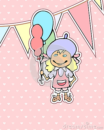 Birthday card with cartoon girl