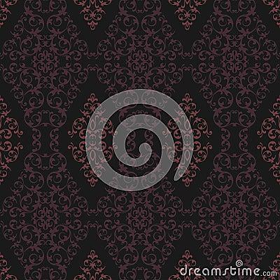 Pink and Black Damask Pattern