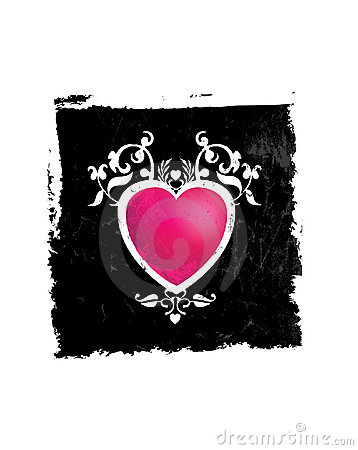 Pink and black grunge heart