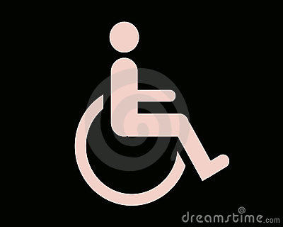Pink and black handicapped sign