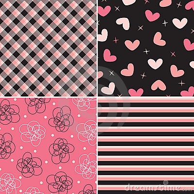 Pink and black pattern combo